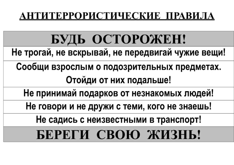 Антитеррористические правила width=
